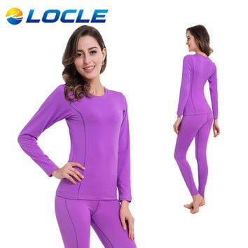 LOCLE Women Thermal Underwear Women Long Johns Women Quick Dry POLARTEC Ski Jacket and Pants For Skiing/Riding/Climbing/Cycling