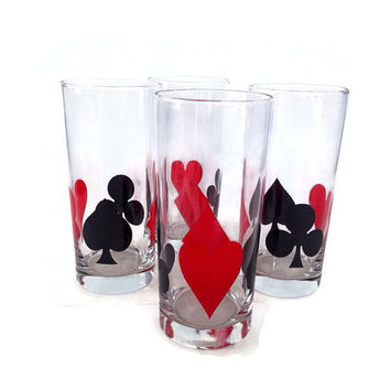 Mid Century Tumblers, Playing Card Suit, Red and Black, Heart, Club, Retro Barware, Vintage Bar, Drinking Glasses, Set of 4, Highball, Poker