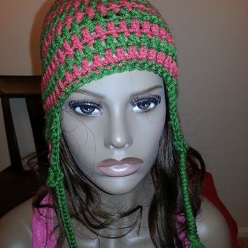 Adult Hat with Ears Green and Orange Colors Warm