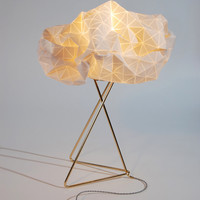 Origami table lamp, White shade, Gold base, textile lamp, 32X25X45 cm, 12.5X9.8X17.7 inch, Home decor accessory,