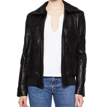 Leather Pocket-Detail Zip Jacket, Black, Size: SMALL, BLACK - Helmut Lang