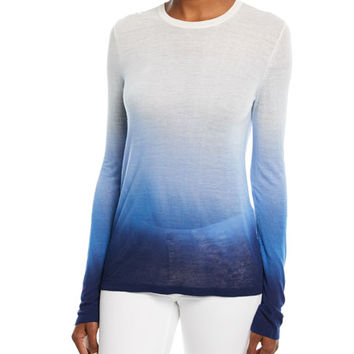 Michael Kors Collection Crewneck Long-Sleeve Ombre Linen-Blend Tee