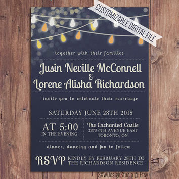 Festive Lights Rustic Navy Wedding Invitation - Bridal Shower Party Lanterns Print Elegant Professional Pretty Custom - Printable DIY (005)
