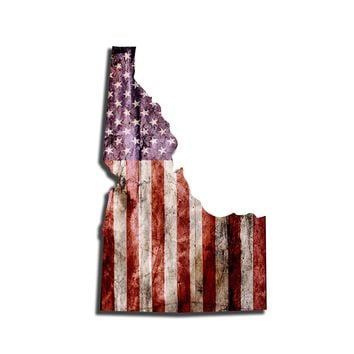 Idaho Distressed Tattered Subdued USA American Flag Vinyl Sticker