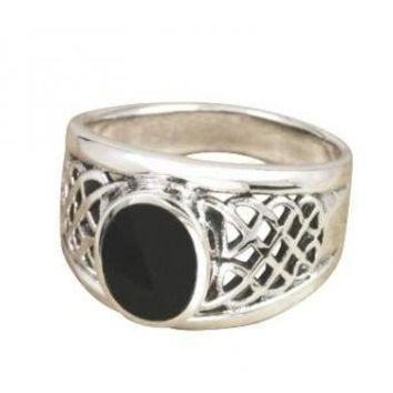 925 Sterling Silver Men's Oval Black Onyx Celtic Woven Knot Ring