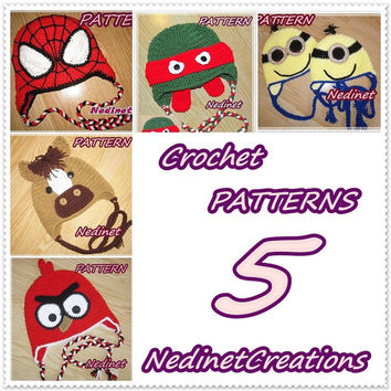 Crochet hat pattern, Spiderman, Ninja, Pony, Mignion, Angry, Pdf PATTERN, Pictured 5 crochet hat pattern