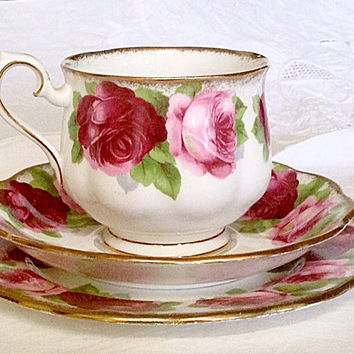 Royal Albert 3 piece fine Bone China - original Old English Rose high tea tableware