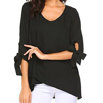 Yhlovg Women Casual Loose V Neck Chiffon Blouse 34 Tied Sleeve Layered Top