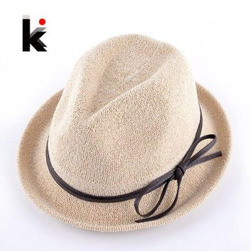 LMF78W Fashion Spring Solid Straw Sun Hats With Bow-knot Ribbon For Women Summer Beach Caps Men Unisex Panama Chapeu De Praia Ete Femme