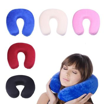 Soft U Shaped Slow Rebound Memory Foam Pillow Travel Neck Pillow for Office Flight Traveling Cotton Pillows Head Rest Cushion