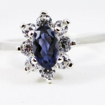 Small Iolite Oval Halo Ring Sterling Silver, Water Sapphire Ring, Natural Iolite Ring, 925 Oval Iolite Halo Ring, 925 Ring