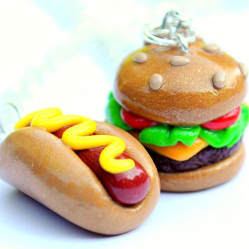 Kawaii Hot Dog and Cheeseburger Best Friend Necklaces Clay Miniatures