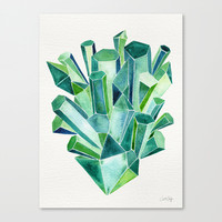 Emerald Watercolor Canvas Print by Cat Coquillette