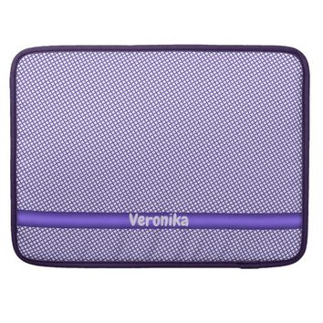 Violet small plaid pattern. Add name. MacBook Pro Sleeve