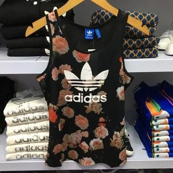 """Adidas"" Women Sports Casual Rose Flower Print Sleeveless Knit Fitness Vest T-shirt To"