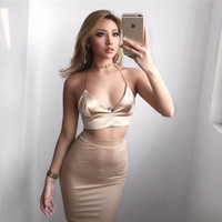 2016 women bodycon dress back tie halter crop top  2 piece deep V neck spaghetti strap sexy party dresses club outfits