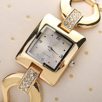 Elegant Women's Golden Bangle Rhinestone Bracelet Analog Quartz Dress Wrist Watch FA (Size: One Size) = 1958175556