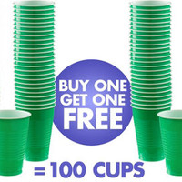 BOGO Festive Green Plastic Cups 50ct- Party City