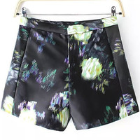 Black Floral Print Casual Shorts