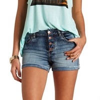 CUFFED HIGH-WAISTED DENIM SHORTS