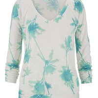 Lightweight Palm Tree Printed Pullover - Splash