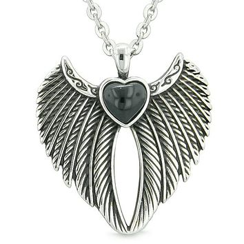 Angel Wings Magic Heart Protection Powers Amulet Simulated Black Onyx Pendant 22 inch Necklace