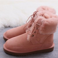 """""""Ugg """"Wool Snow Boots winter women Lace boots/Orange"""