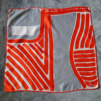 60's Vera Neumann Orange and Gray Silk Japan Scarf