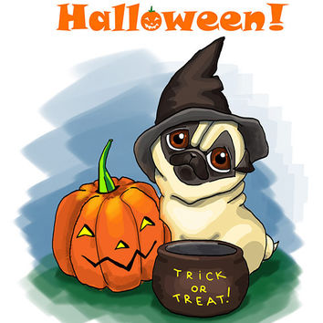 "Funny Halloween card with Pug. Printable greeting card, Instant Download 5 x 7"" JPG file, Happy Halloween. Funny sketch drawing."