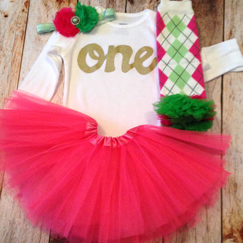 Preppy pink fuchsia pink tutu argyle Leg Warmers, long sleeve gold glitter one Onesuit- kelly pink headband- girls 1st Birthday outfit- girls first birthday