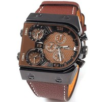 NIUBILITY Ori-0465 Men Watch with 3-Movt Quartz Brown Special Unique Design Dial and Leather Band