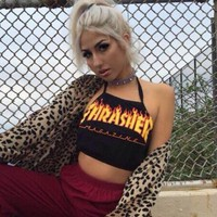 Thrasher Sexy Print Halter Cotton Cami Crop Vest Tank Top