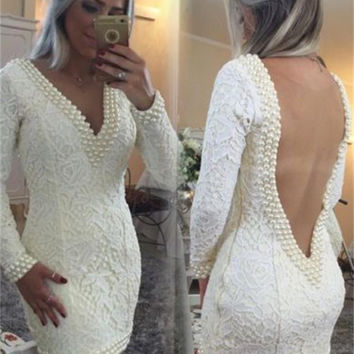 2016 Pearls Cocktail Dress Evening Gowns With Lace Long Sleeves Deep V neck Short Homecoming Party Prom Formal Dresses Gown
