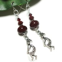 Kokopelli Earrings Terracotta Southwest Fashion Jewelry Hypoallergenic