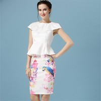 Office pencil white high waisted skirts womens vintage summer new style 2016 short elegant flowerl bird print plus size clothes