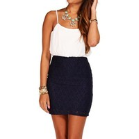 Ivory/Navy Lace Colorblock Dress
