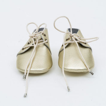 Lace-Up Leather Baby Moccasins Gold