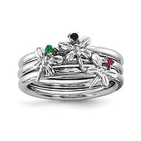 Sterling Silver Blue Sapphire, Ruby and Emerald Dragonfly Set of 3 Rings