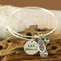 LBI Dreamin Bangle Bracelet with Flip Flop - Alex & Ani Inspired