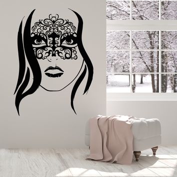 Vinyl Wall Decal Beautiful Girl Head Mask Masquerade Party Stickers Unique Gift (1597ig)