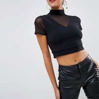 ASOS DESIGN crop top in mesh at asos.com