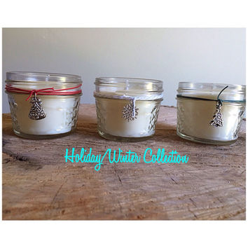 Holiday Winter soy candles sampler christmas tree holiday berries gift set