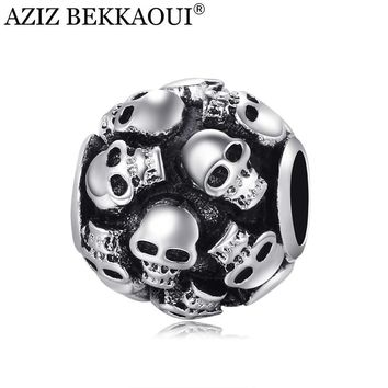 Skull beads charm fit european pandora diy bracelet necklace big hole loose beads Uniq