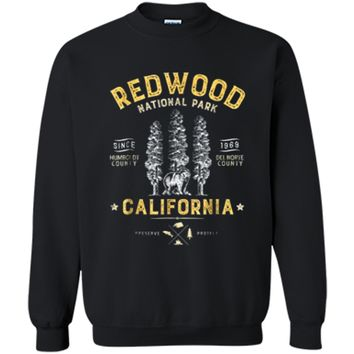 Redwood National Park Vintage California Bear Gifts Printed Crewneck Pullover Sweatshirt