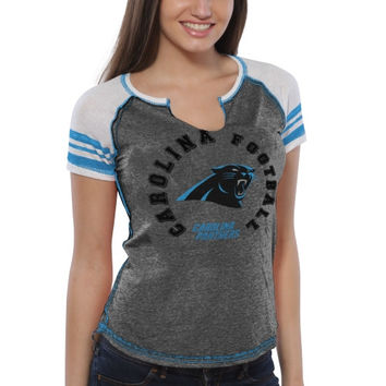 Carolina Panthers Majestic Women's More Than Enough V-Neck T-Shirt – Charcoal