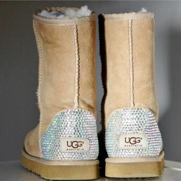 Toddler, Little Kid, and Youth UGG Sheepskin Boots with Swarovski Crystal Embellishmen