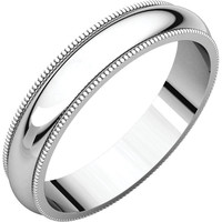 Palladium 4mm Milgrain Wedding Band Ring - Bridal Jewelry: RingSize: 00