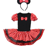 Minnie Mouse Costume and headband -Birthday party- Dress up- Halloween