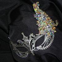 Metallic Masquerade Mask with AB Rhinestone Accents