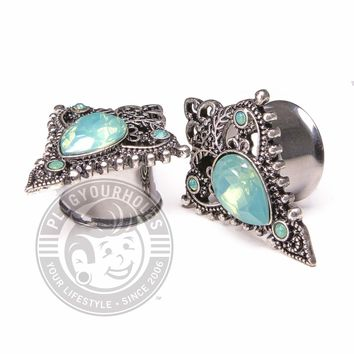 Green Diamond Opalite Triangular Double Flared Steel Plugs
